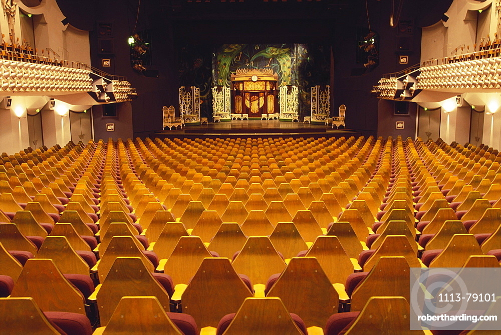 Rows of seats and stage in a theater, Deutsches Theater, Munich, Bavaria, Germany