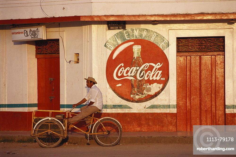 Local man on a transport cycle, Oxkutzcab, Yucatan, Mexico