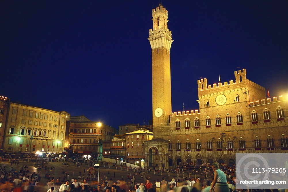 Piazza del Campo after Palio at night, Palazzo Pubblico, Siena, Tuscany, Italy