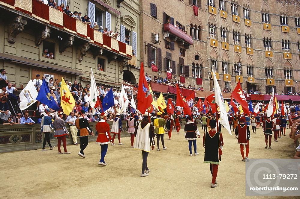 Palio, flag panners, Siena, Tuscany, Italy