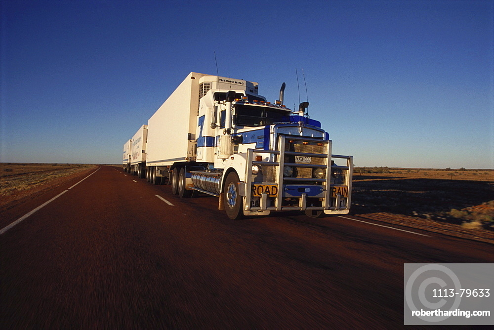 Lorry, road train on Stuart Highway, Northern Territory, Austrialia
