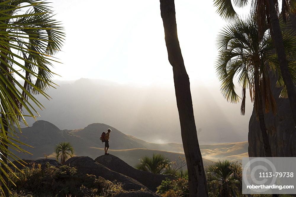 Hiker with backbag in misty landscape, Madagascar