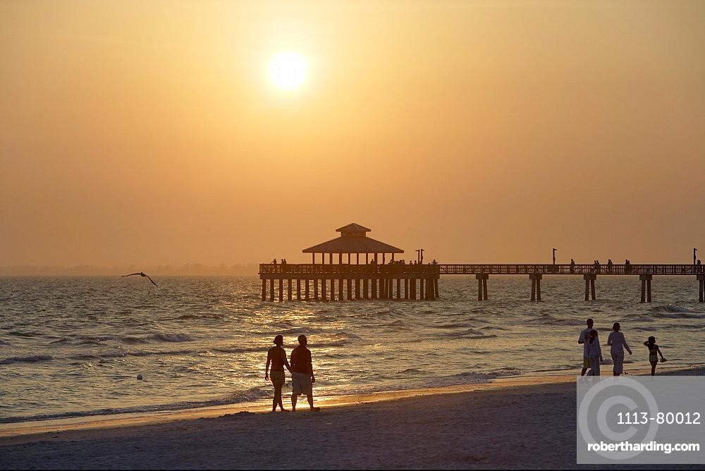 Sunset on Naples Municipal Pier, Florida, USA