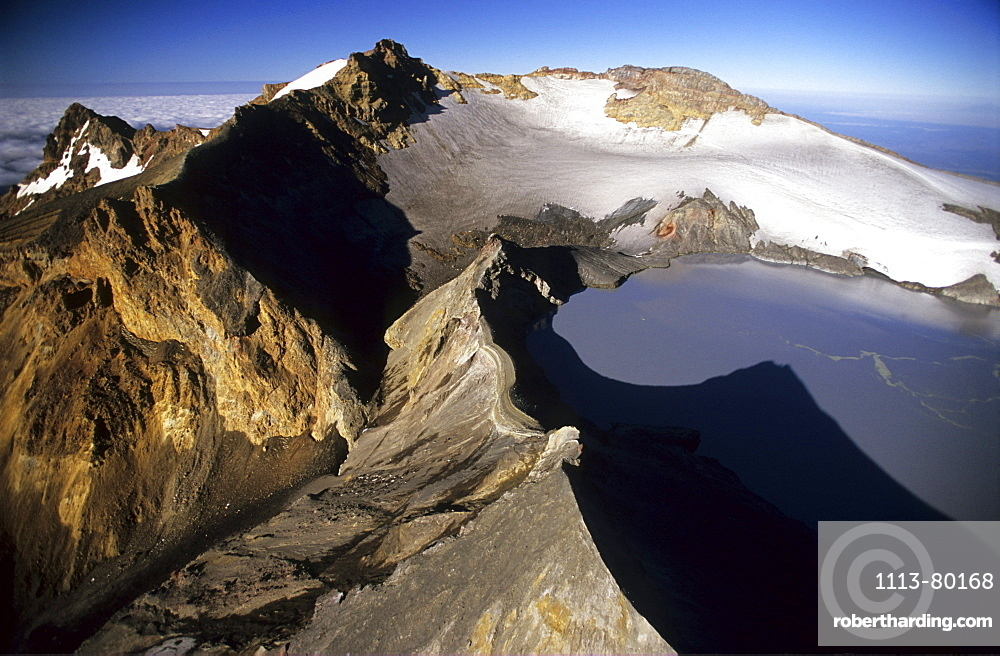 Peak of Mt. Ruapehu with crater lake, North Island, New Zealand