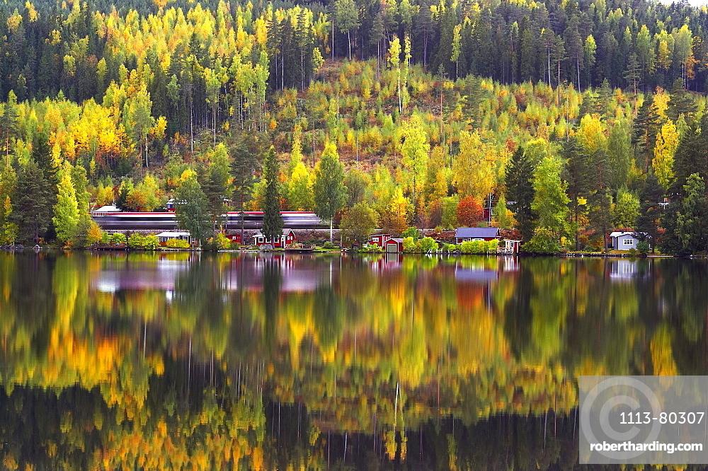 Autumn at the lake Norra Barken near Smedjebacken in Dalarna, Middle-Sweden