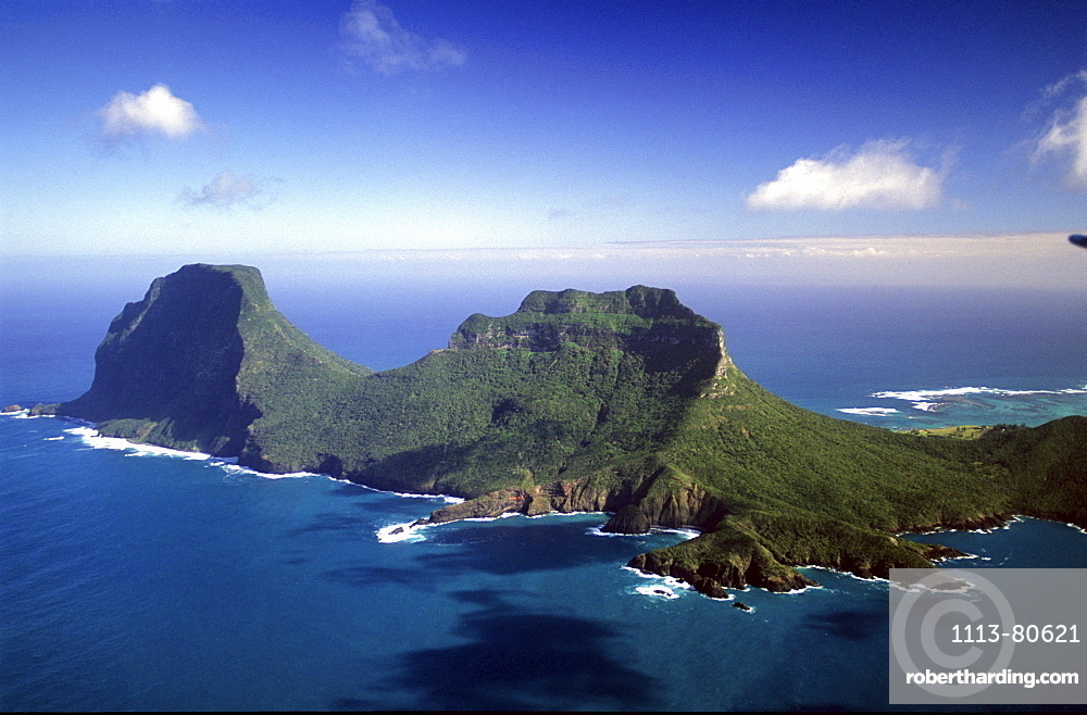 Aerial view of Mt. Gower and Mt. Lidgbird, Lord Howe Island, Australia