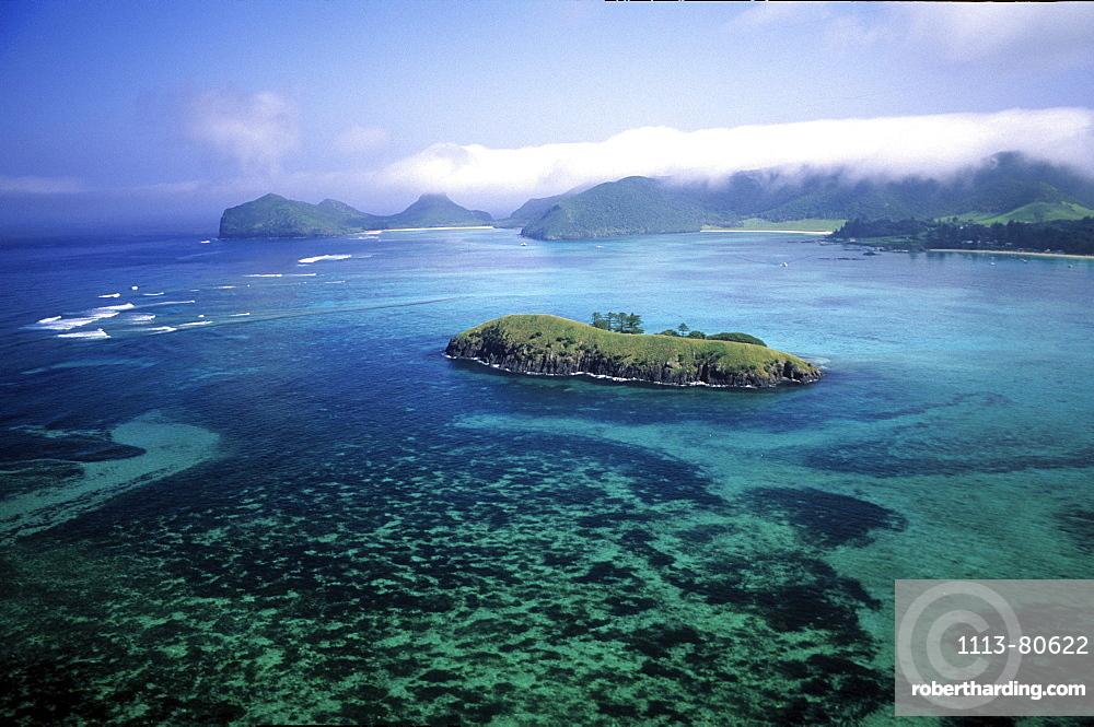 Aerial view of Lagoon and Rabbit Island, Lord Howe Island, Australia