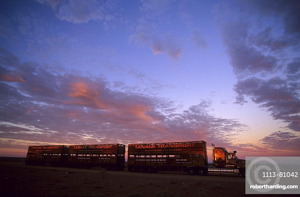 A road train along the Stuart Highway near Coober Pedy, South Australia, Australia