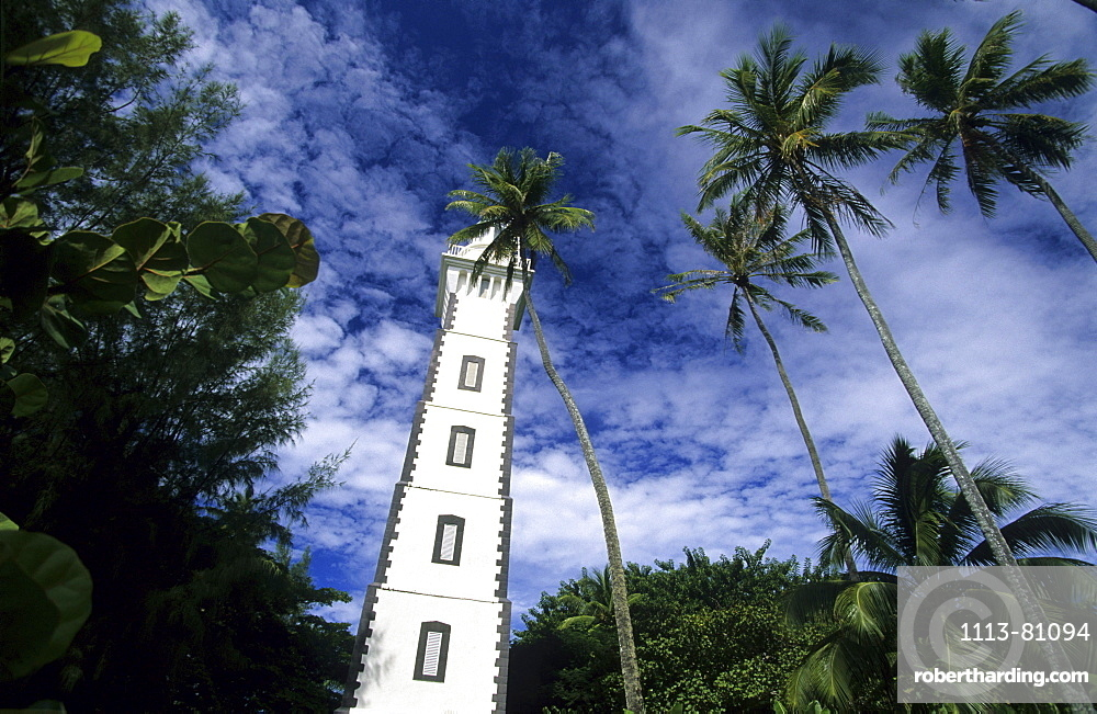 The lighthouse at Point Venus on the north coast of the island, Tahiti, French Polynesia, south sea