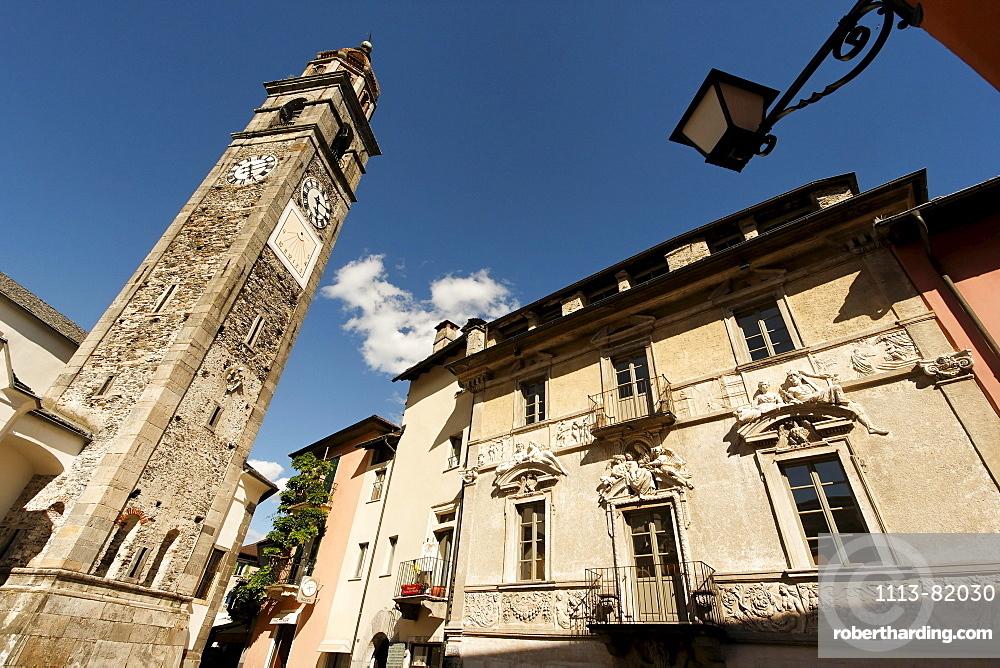 Switzerland, Ticino, Ascona, church, clock tower