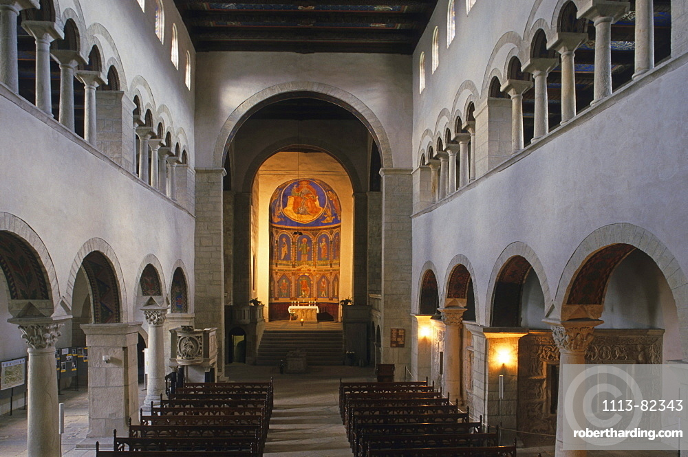 interior, collegiate church of St Cyriacus, Gernrode, Romanesque Route, Harz Mountains, Saxony Anhalt, Germany