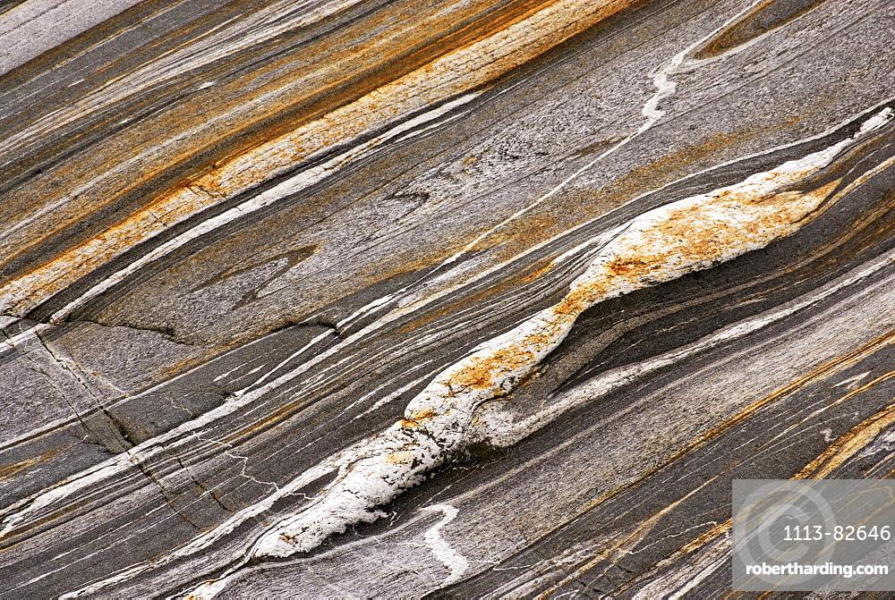 Pattern of Gneiss rock, valley of Verzasca, Verzasca, Ticino, Switzerland