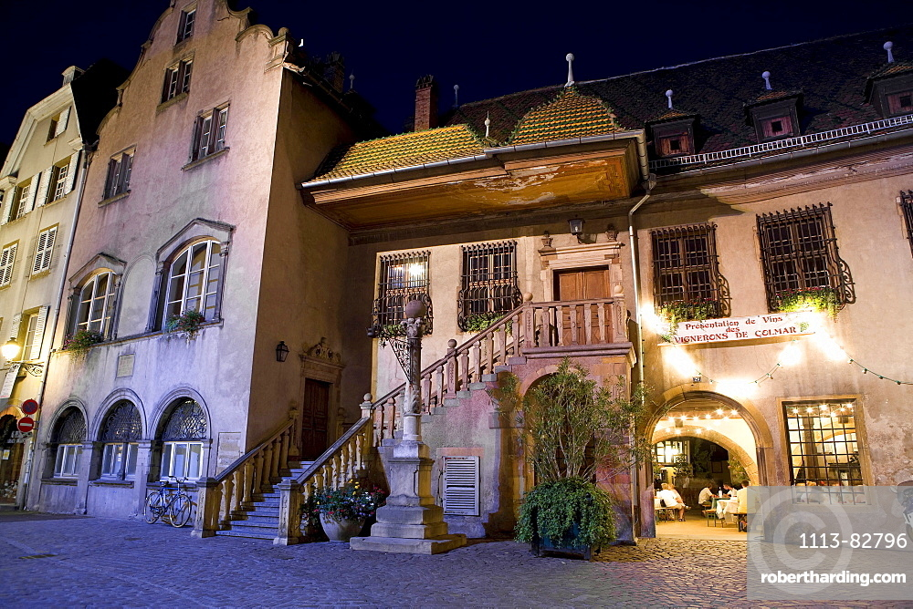 House in Old Town at night, Colmar, Alsace, France