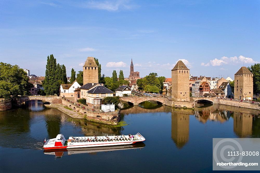 Medieval Pont Couverts, River Ill, Strasbourg, Alsace, France