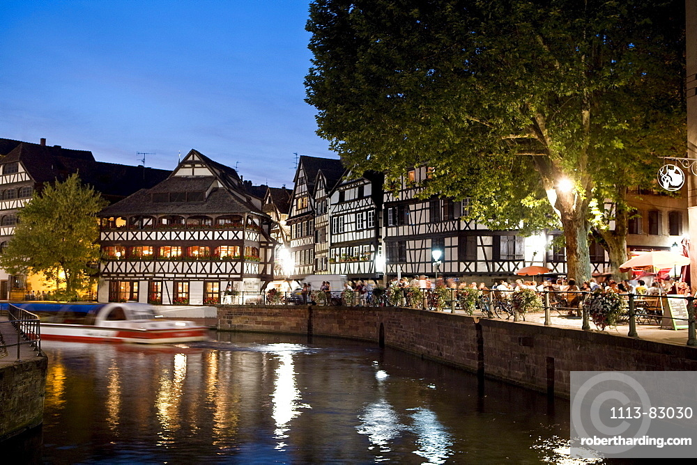 Restaurant Maison de Tanneurs in the evening light, Petite France, Strasbourg, Alsace, France