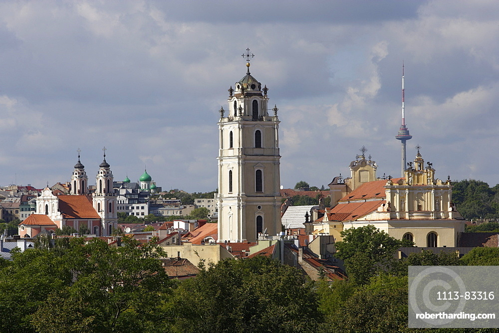 View from the Uzupio quarter, with the university tower in the middle, Lithuania, Vilnius