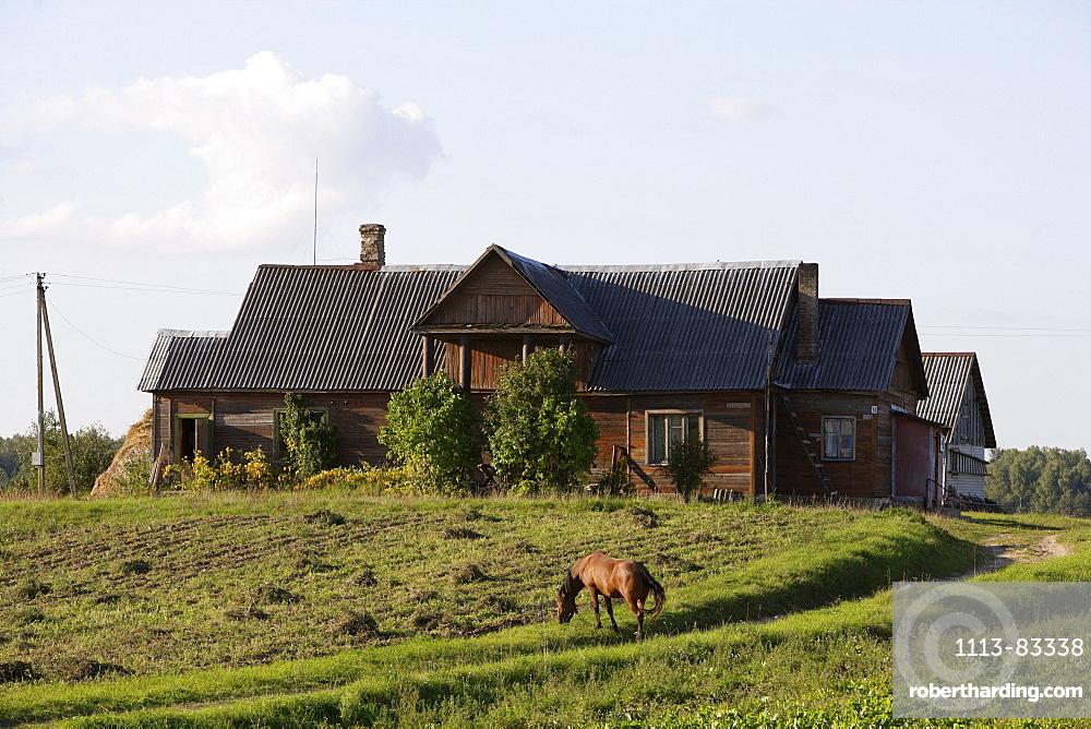 Farmhouses in the area of Trakai, Lithuania