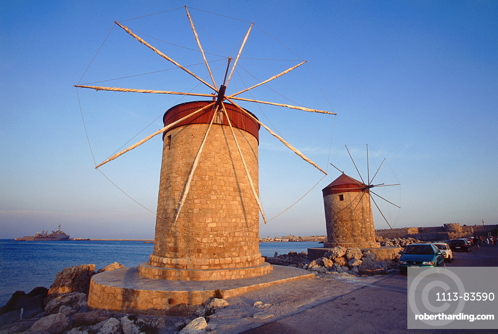 Windmills at Mandraki harbour, Rhodos, Dodecanes, Greece