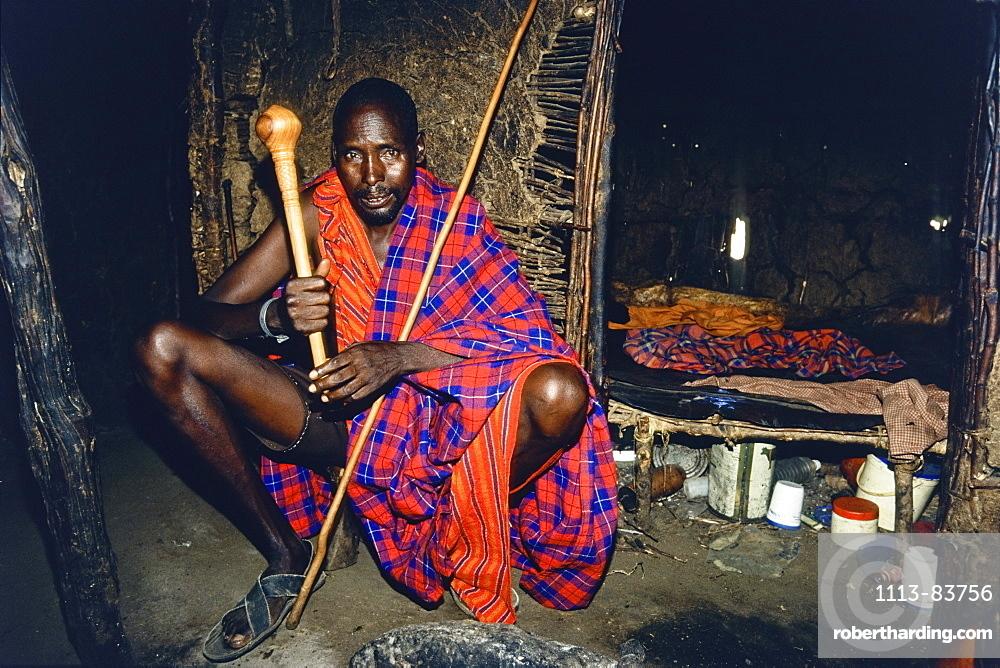 Massai headman in his typical house, Tanzania, East Africa