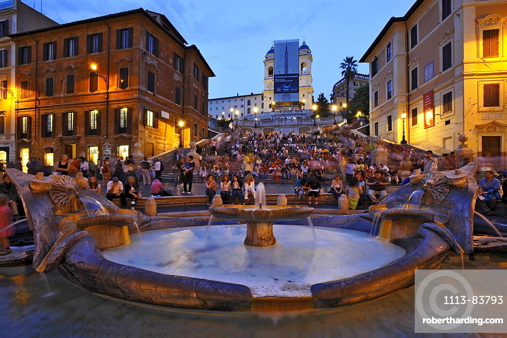 Spanish steps and Bernini fountain, Fontana della Barcaccia, in the evening light, Rome, Italy
