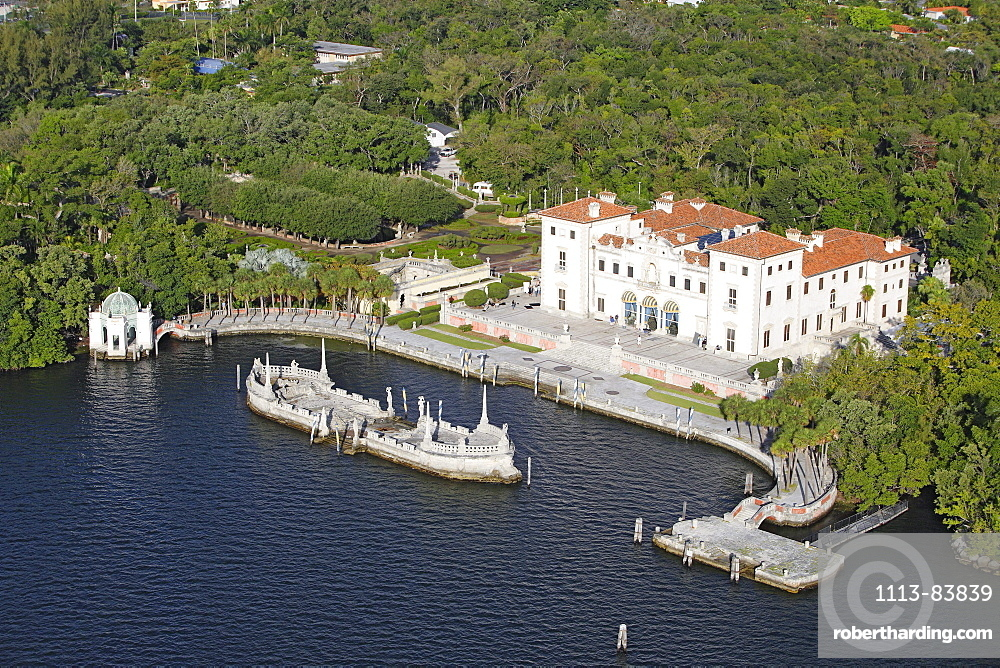Aerial view of the Vizcaya palace on the waterfront, Florida, USA
