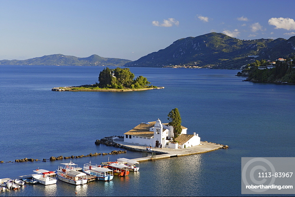 The convent of Panaghia Vlaherna and the Mouse Island, Corfu, Ionian Islands, Greece