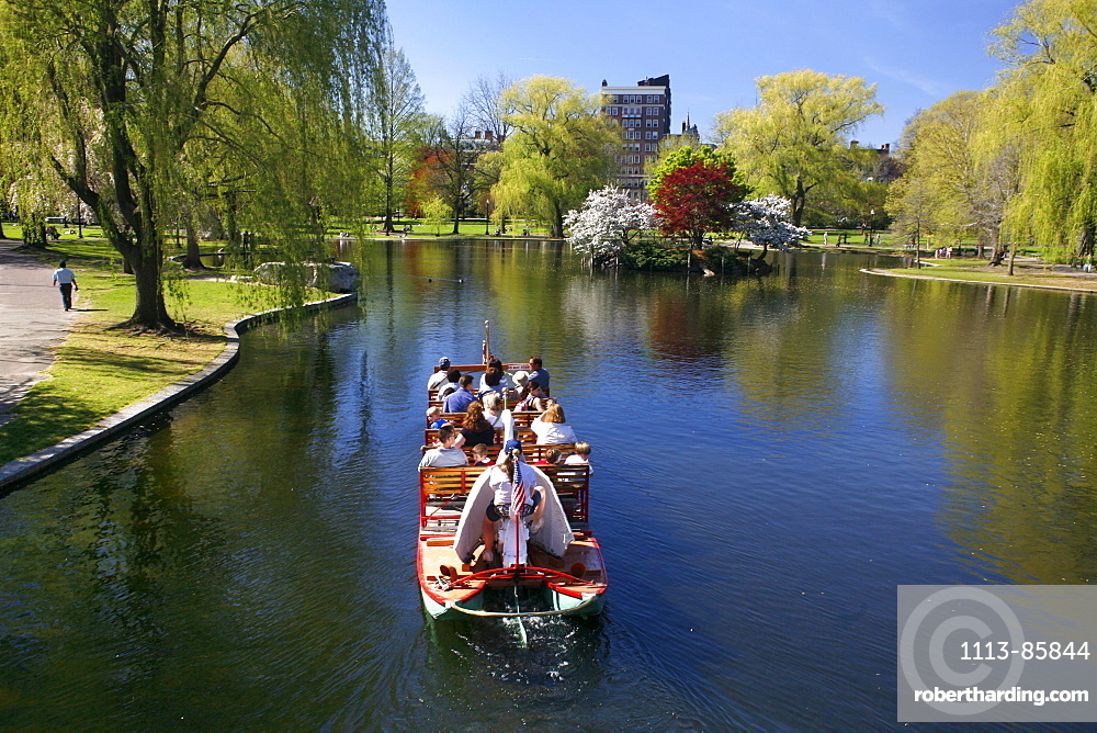 Tourists on a boat in The Public Gardens, Boston, Massachusetts, USA