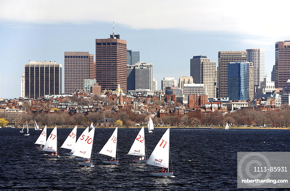 The Charles River with sailing boats and skyline, Boston, Massachusetts, USA