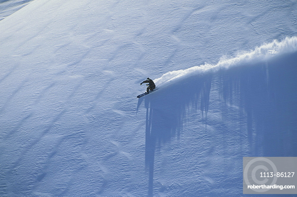 Aerial view of a skier