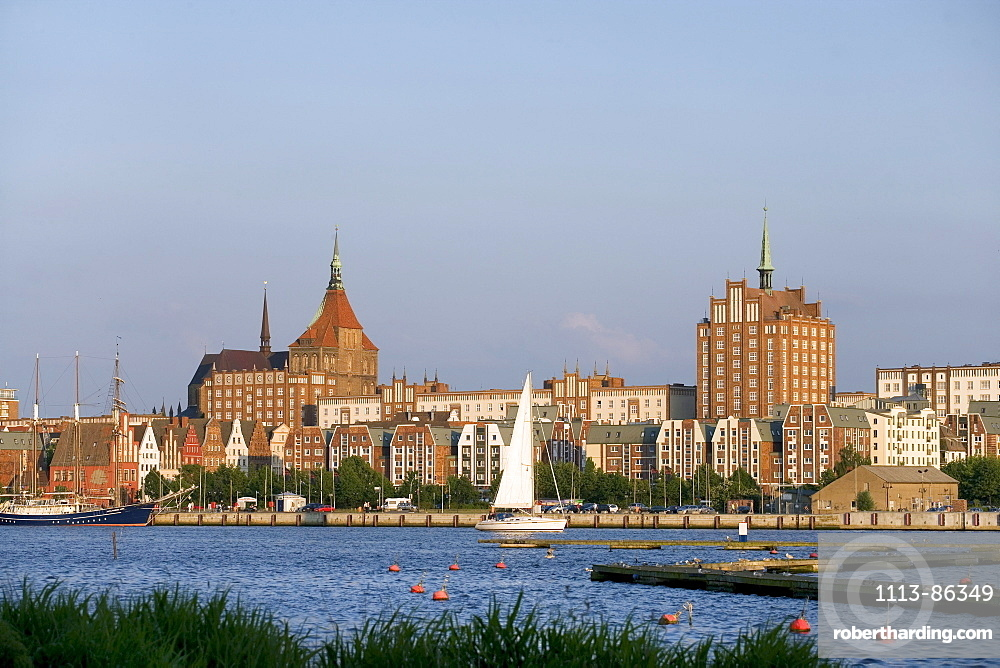Overview, River Warnow, Old Town, Rostock, Baltic Sea, Mecklenburg-Western Pomerania, Germany
