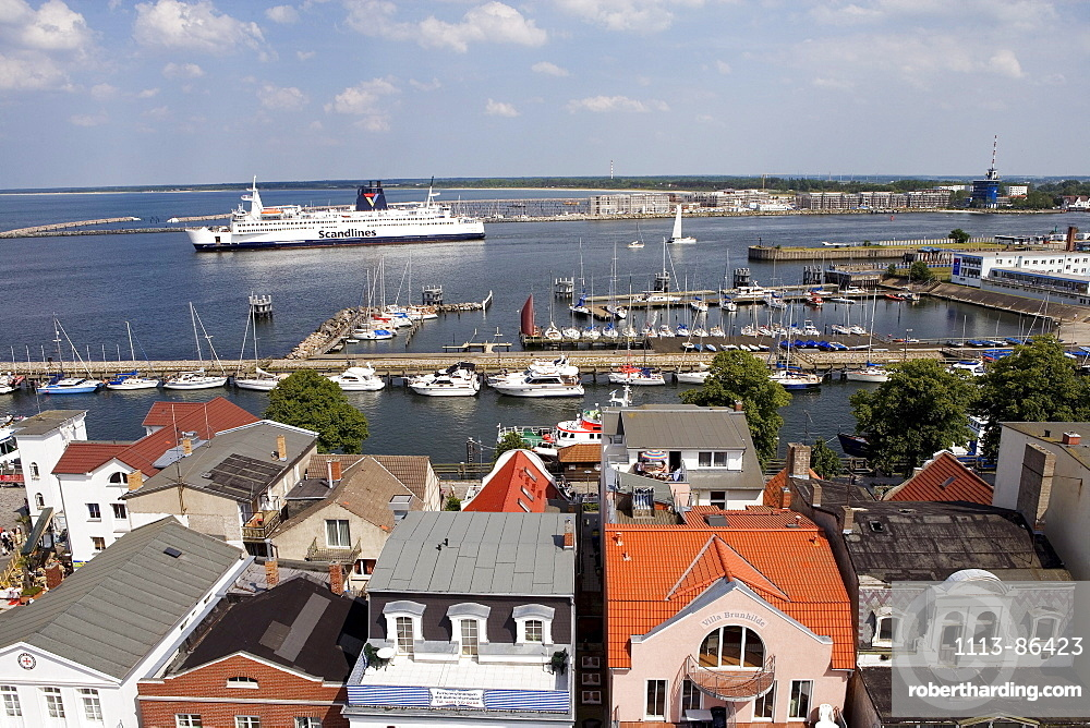 Overview from Lighthouse, Rostock-Warnemuende, Baltic Sea, Mecklenburg-Western Pomerania, Germany