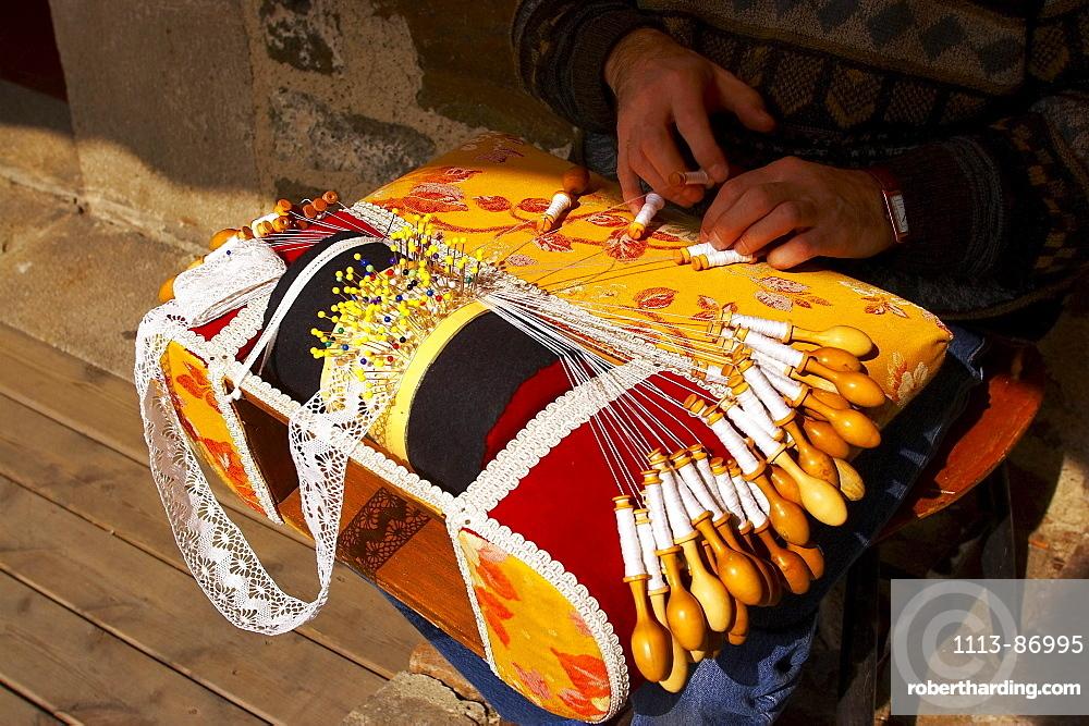 lacemaker at work, St. James Way, Via Podiensis, Le Puy-en-Velay, Auvergne, Dep.Haute-Loire, France