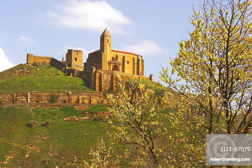 Castle with church in Spring, San Vicente de la Sonsierra, La Rioja, Spain