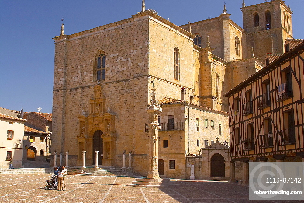 The city of Penaranda de Duero with church, Castilla Leon, Spain
