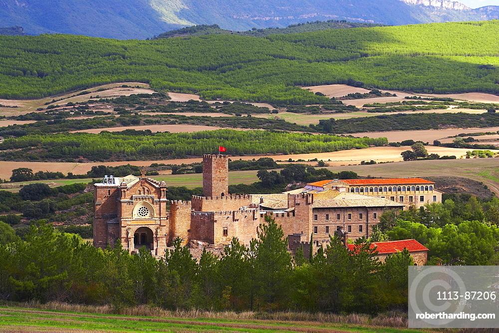 Landscape and mountains with castle, Castillo de Javier, Francisco Javier 1506, near Sangueesa, Navarra, Spain
