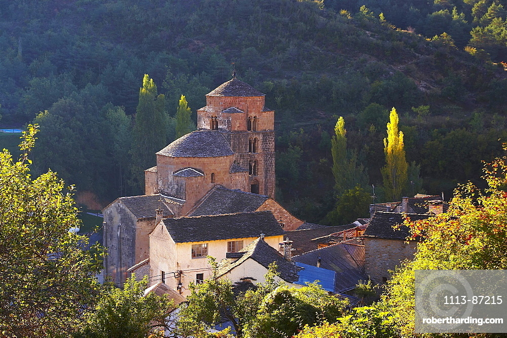 Early summer morning at a former Benedictine monastery with church, Santa MarÌa, Santa Cruz de la SerÛs, Huesca, Aragon, Spain