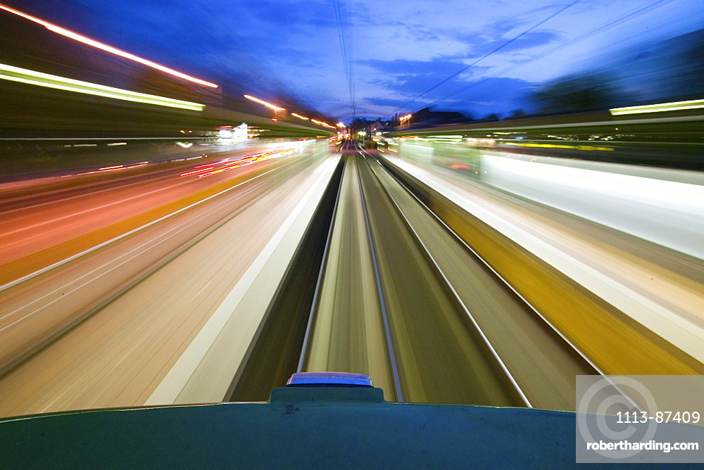 view from roof of moving tram, speed, mobility, local public transport, uestra, Hanover, Lower Saxony, Germany