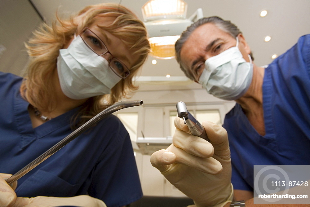 dental treatment, dentist, dental assistants, face masks, equipment, MR