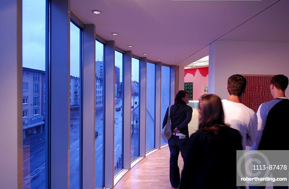 Visitors inside the Museum for Modern Art, MMK, Modern Architecture, Frankfurt, Hesse, Germany