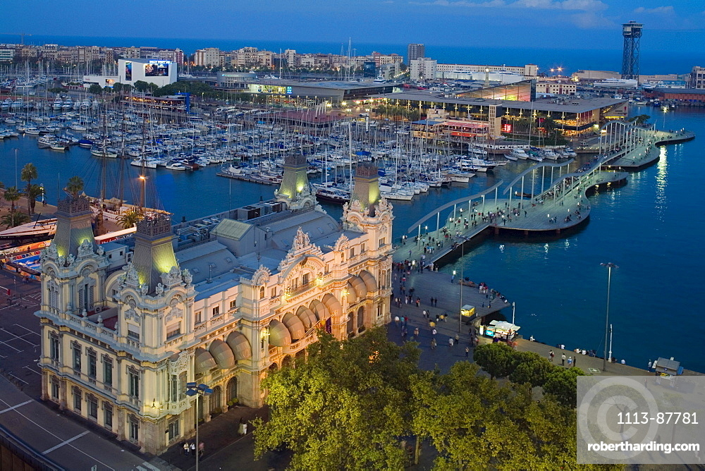 stately building of Port de Barcelona, Rambla del Mar, Port Vell, old harbour, Ciutat Vella, Barcelona, Catalonia, Spain