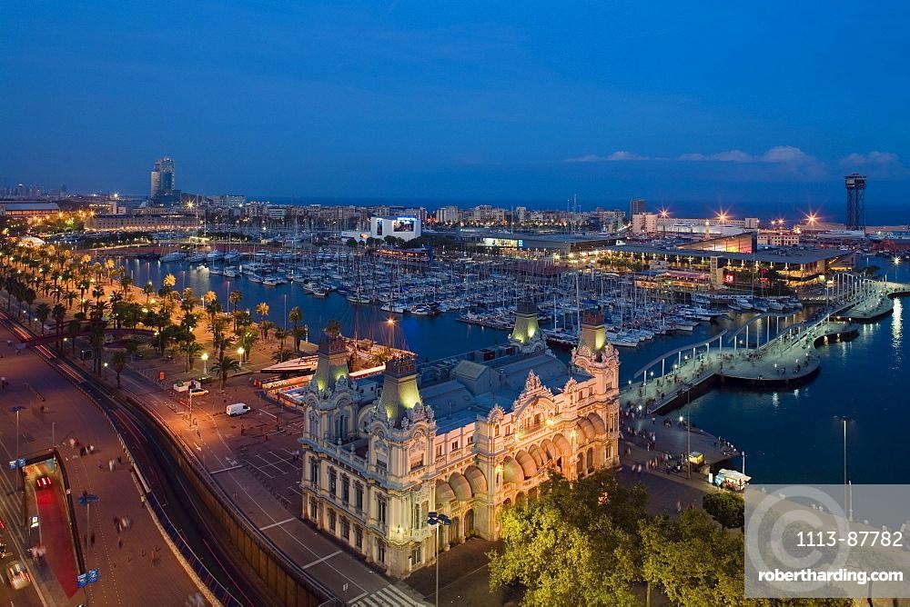 stately building of Port de Barcelona, Port Vell, harbour, Ciutat Vella, Barcelona, Spain