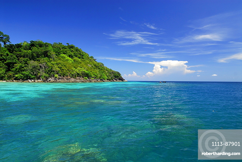 Corals in clear blue water and green island with jungle, Surin Islands Marine National Park, Ko Surin Noi, Phang Nga, Thailand