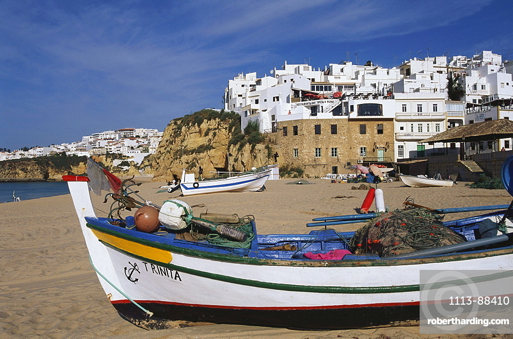 Beach with fishing boats, Albufeira, Algarve, Portugal