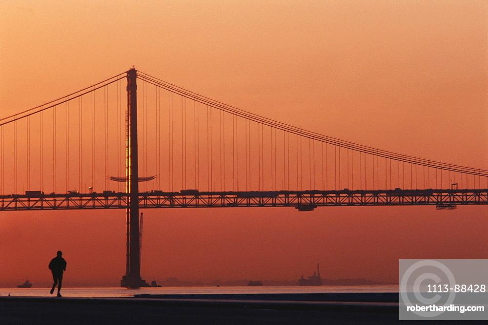 25th of April bridge in the evening light, Lisbon, Portugal