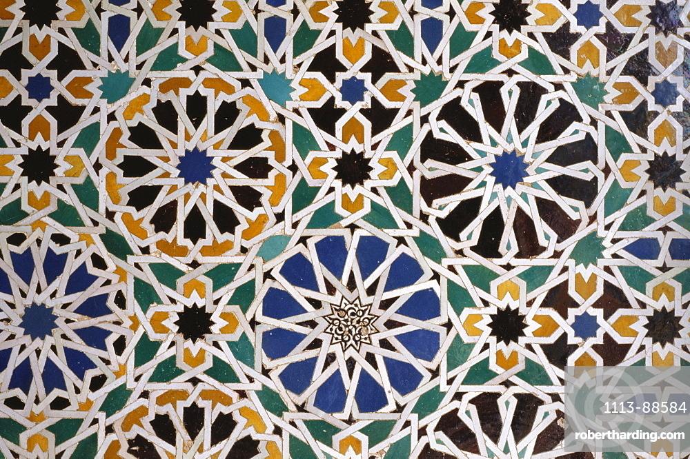 Artful mosaic at Sala de los Embajadores hall in the moorish palace Alhambra, Granada, Andalusia, Spain