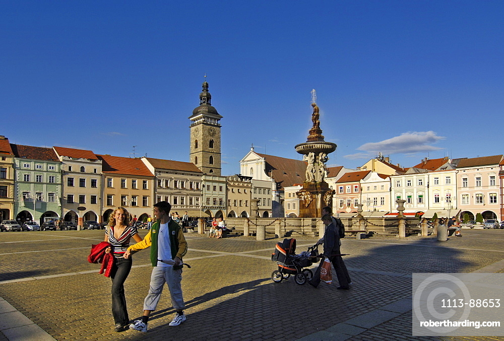 Marketplace with Samsonfontain, Budejovice, Czech Republic