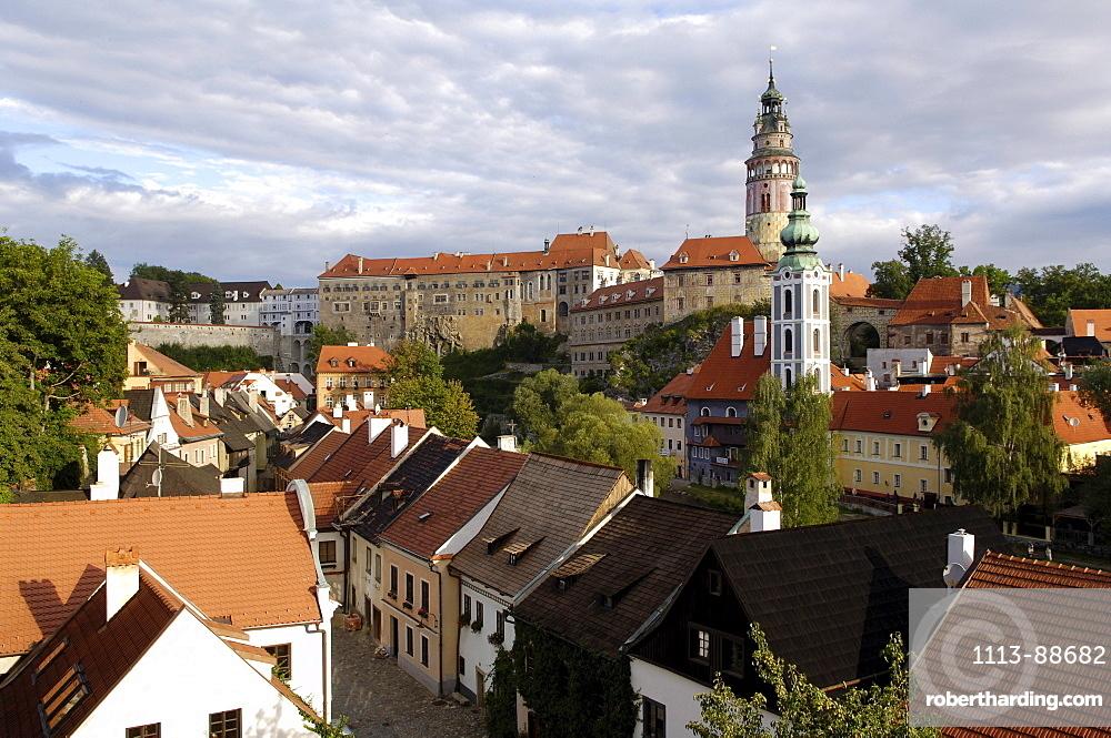 Prospect of castle and Church St. Jodokus, Cesky Krumlov, Krumau, Czech Republic
