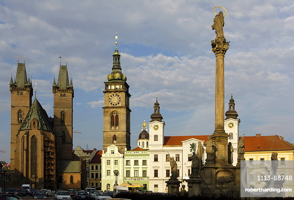 White tower and St. Klemens-Chapel, marketplace with holy ghost cathedral, Koeniggraetz, Hradec Kralove, Czech Republic