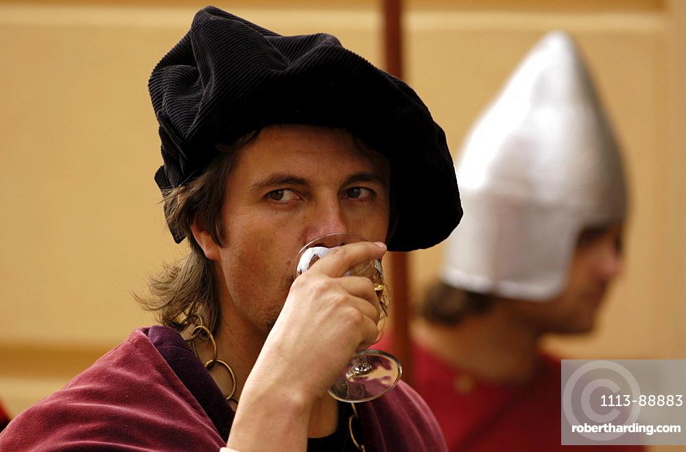 Man testing wine quality, traditional wine celebration, Znomjo, Czech Republic