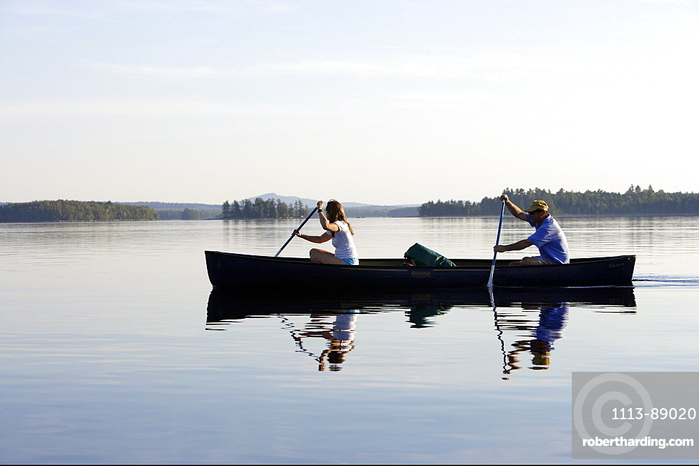 Canoeing on Penobscot River, Maine, USA